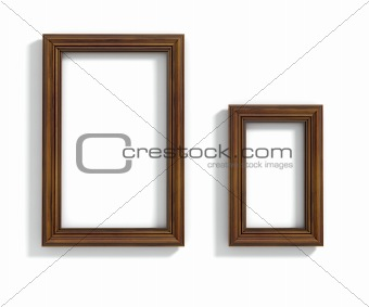 Interior render of two wood frames hanging on the wall