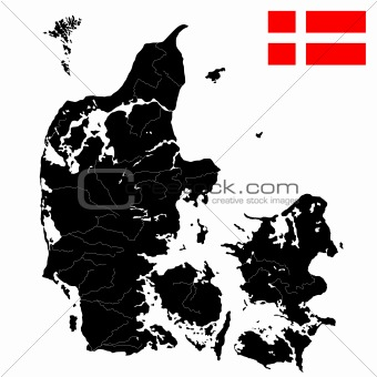 Flag and map of Denmark
