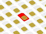 Red SIM card within white ones