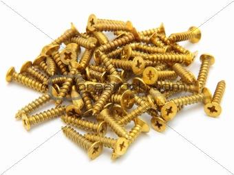 A handful of steel screw. Metallic abstract