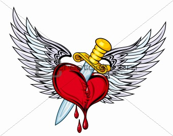 Heart with sword and wings