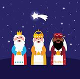 Three wise men bringing gifts to Christ ( night scene )