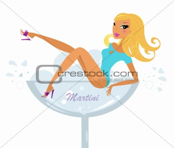 Beautiful retro girl in Martini glass isolated on white