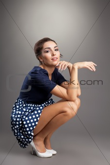 Beauty woman in old style cloth sit relaxed