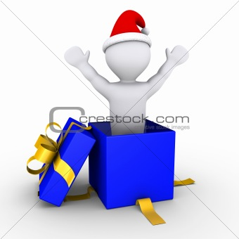 Boy coming out of a present