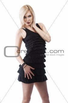 girl in elegant evening dress, she has the right hand on her nec