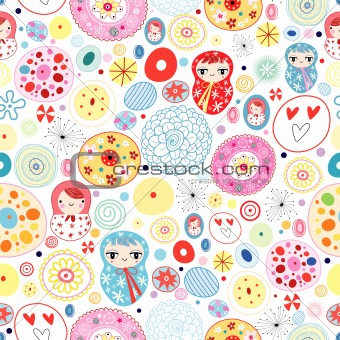 abstract pattern with dolls