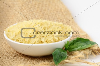 Uncooked rice in white bowl
