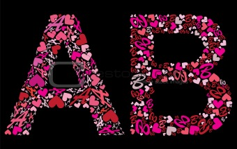 Letter A, B. Valentine alphabet