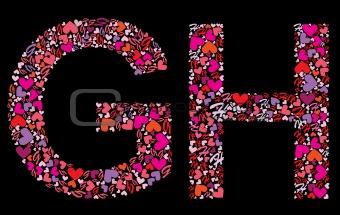 Letter G, H. Valentine alphabet
