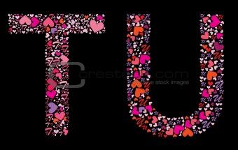 Letter T, U. Valentine alphabet