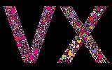 Letter V, X. Valentine alphabet