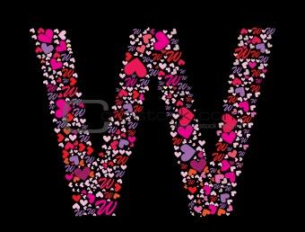 Letter W. Valentine alphabet