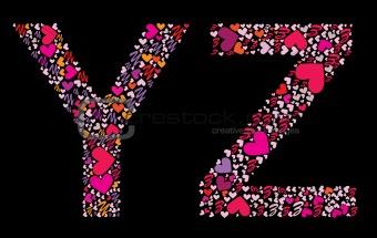 Letter Y, Z. Valentine alphabet