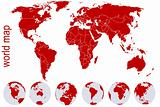 Red world map with Earth globes