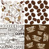 Set of backgrounds with coffee beans