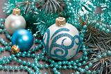 Christmas blue balls decorations