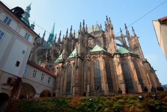 Historical Prague cafedral and tourist walk around