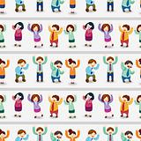 cartoon happy office workers  seamless pattern