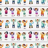 cartoon happy office workers  seamless pattern