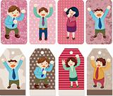 cartoon happy office workers  card