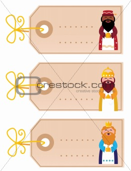 Christmas blank retro cards with gold ribbon isolated on white