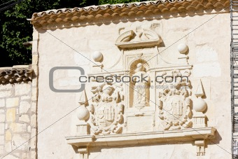 close up of church in Cuenca, Castile-La Mancha, Spain