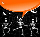 Halloween skeletons with spiderweb and bubble background