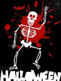 Halloween dancing skeleton background