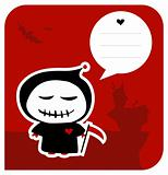 Funny grim reaper halloween greeting card
