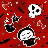 Funny halloween characters seamless pattern