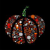 Halloween pumpkin in social media icons
