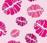 Lipstick Kiss shape print seamless pattern