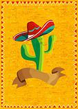 Mexican food cactus over grunge background