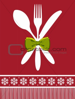 Fork, spoon and knife christmas background