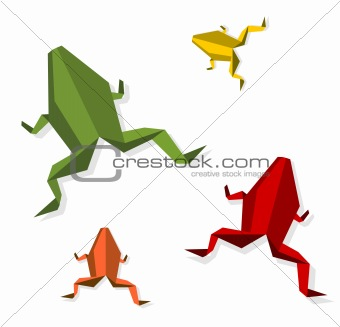 Group of various Origami frog
