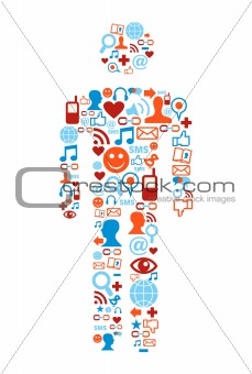 Social media icons man