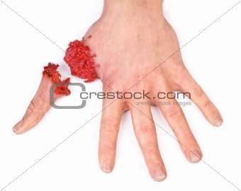 artificial human hand with cut out finger