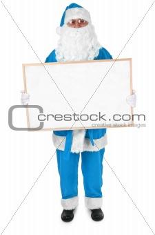Blue Santa and empty bulletin board