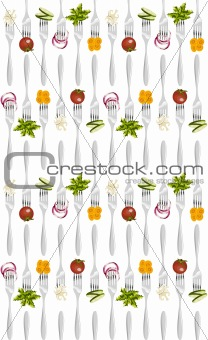 Forks with vegetables pattern.