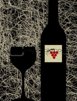 Modern wine glass and bottle menu background