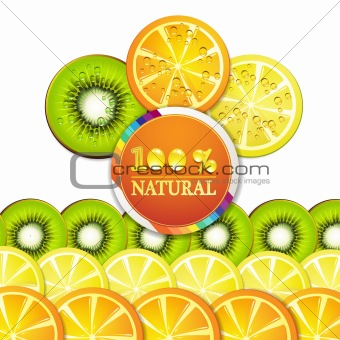 Slice of orange, kiwi, and lemon