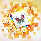 Square background and butterflies