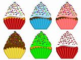Six Variety Cupcakes with Sprinkles Illustration