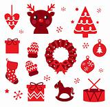 Vector collection of christmas retro elements isolated on white