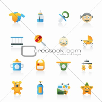 Baby, children and toys icons