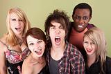 Angry urban teens shout at the camera.