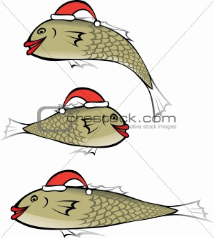 Fish with Christmas cap