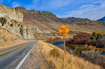 Watch for Rock Sign