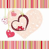 Lovebirds colorful heart shape card design